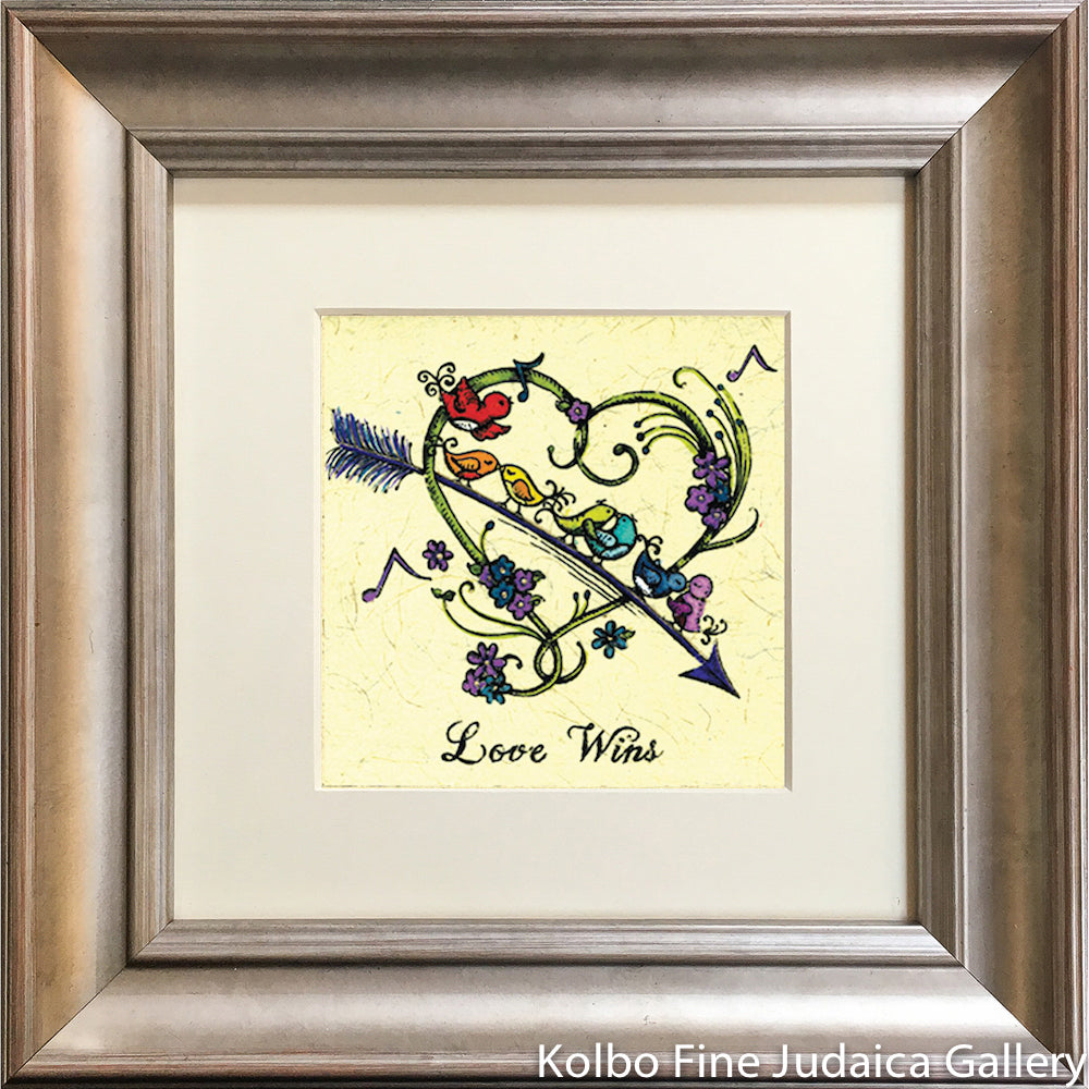 Love Wins, Rainbow Bird Heart, Mini, Hand-Painted, Framed