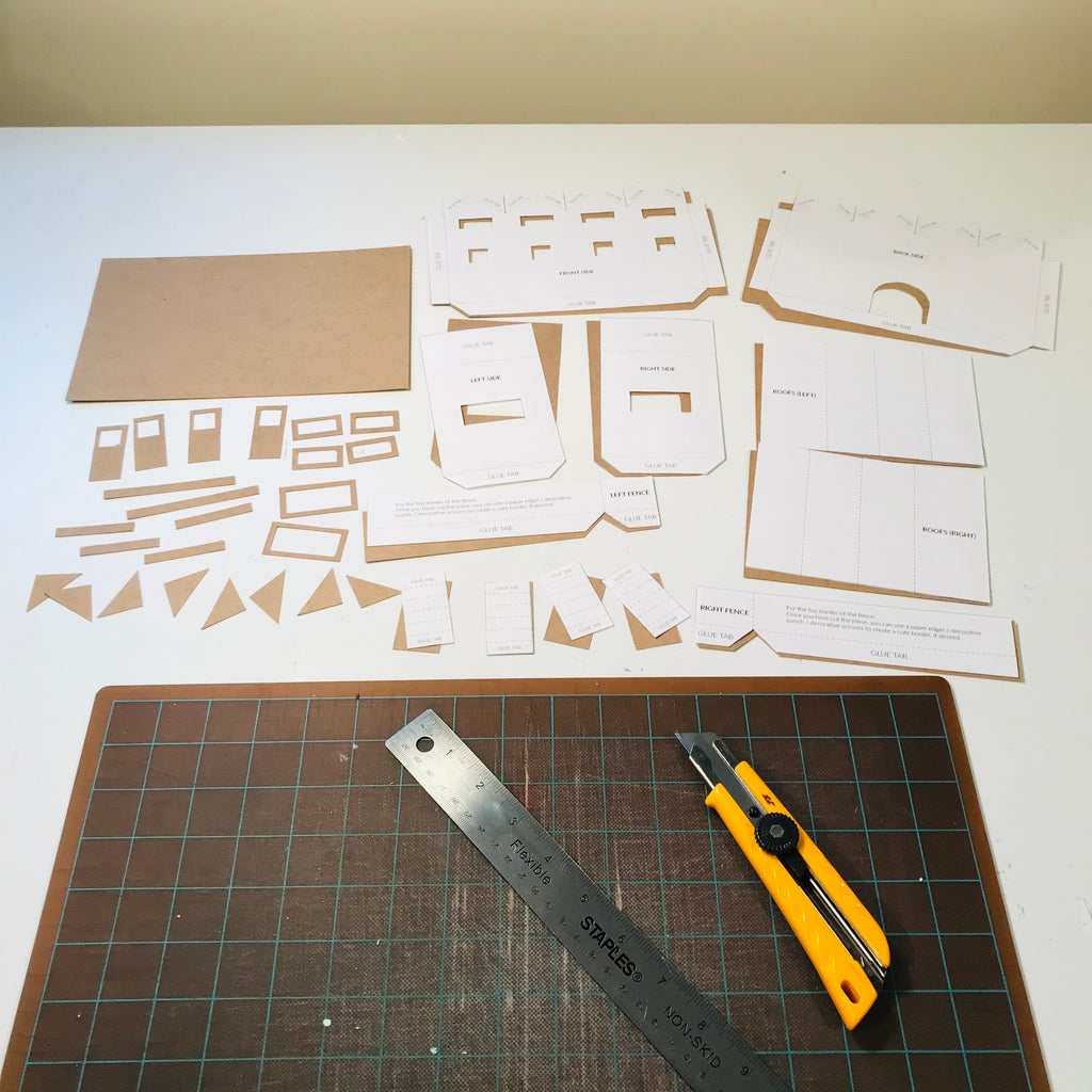 1 DIY Craft Christmas Putz Glitter House - Row Houses - Cut the cardboard pieces from template