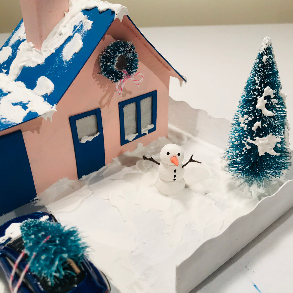10 DIY Craft Christmas Putz Glitter House Cottage with Attached Garage Fake Snow 2