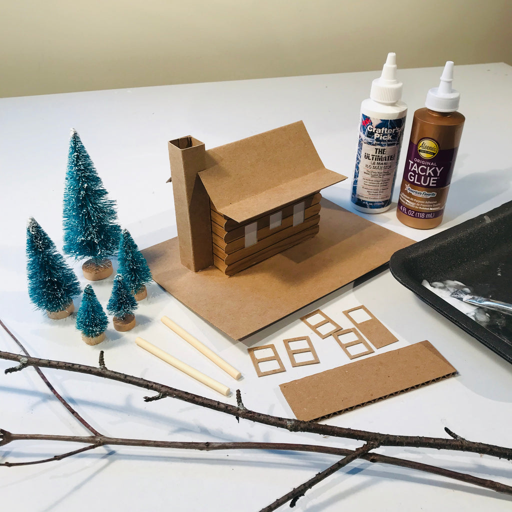 DIY Craft Christmas Putz Glitter House - Log Cabin - Assembled with Accessories