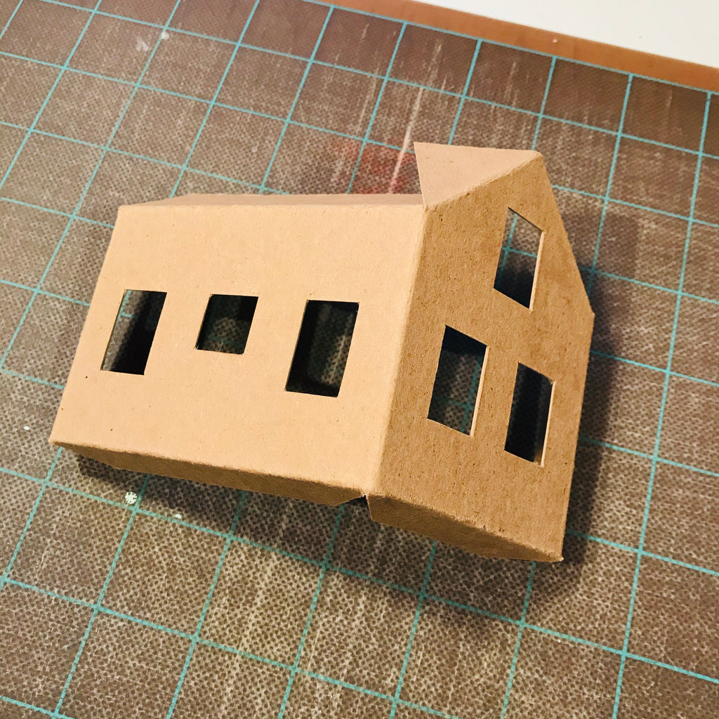 DIY Craft Tutorial - Christmas Village Putz Glitter House - Simple Cottage - First piece of the house folded and cut