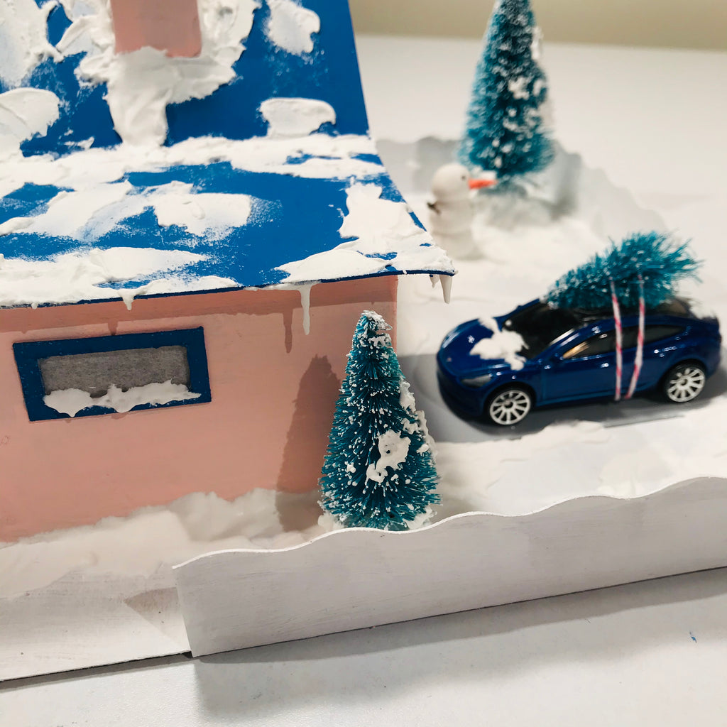 11 DIY Craft Christmas Putz Glitter House Cottage with Attached Garage Fake Snow 3