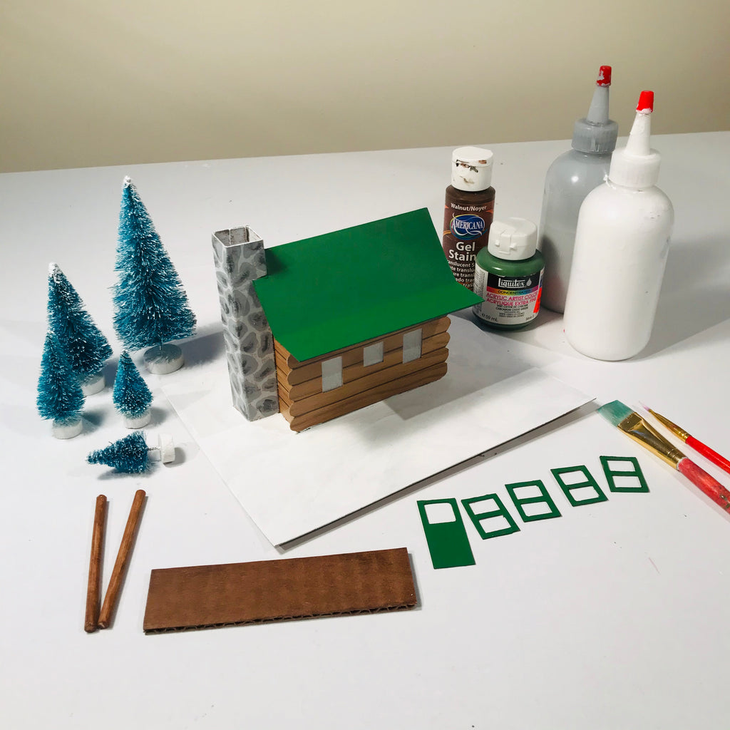 DIY Craft Christmas Putz Glitter House - Log Cabin - Apply the Paint