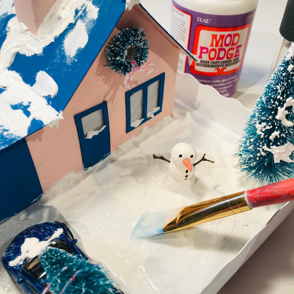 12 DIY Craft Christmas Putz Glitter House Cottage with Attached Garage Glitter Mod Podge with Brush