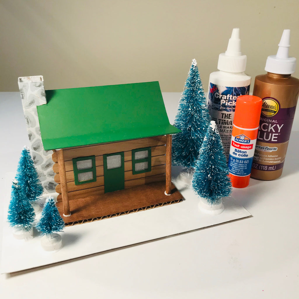 DIY Craft Christmas Putz Glitter House - Log Cabin - Glue the Accessories
