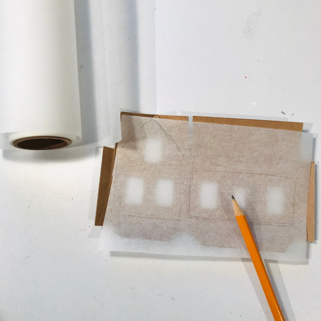DIY Craft Tutorial - Christmas Village Putz Glitter House - Simple Cottage - Trace vellum paper to make frosted windows