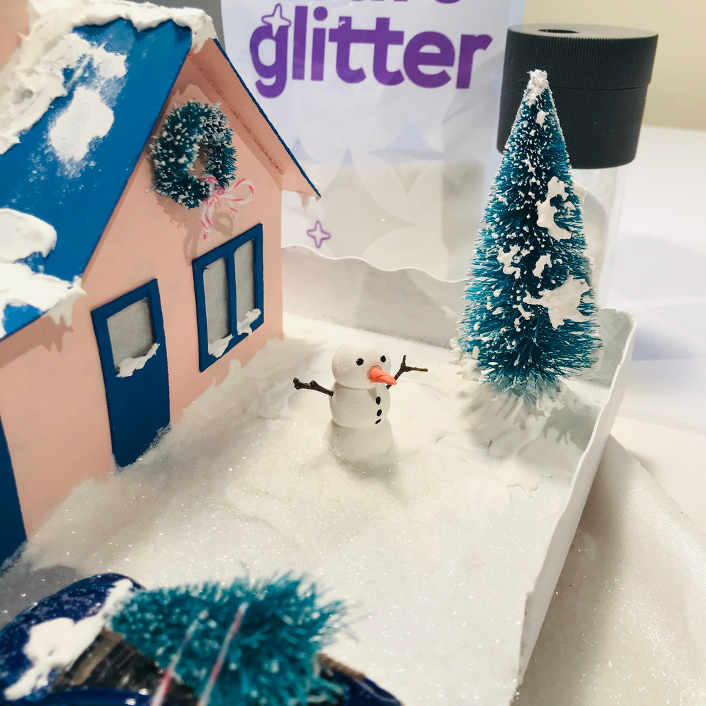 13 DIY Craft Christmas Putz Glitter House Cottage with Attached Garage Sprinkle Glitter