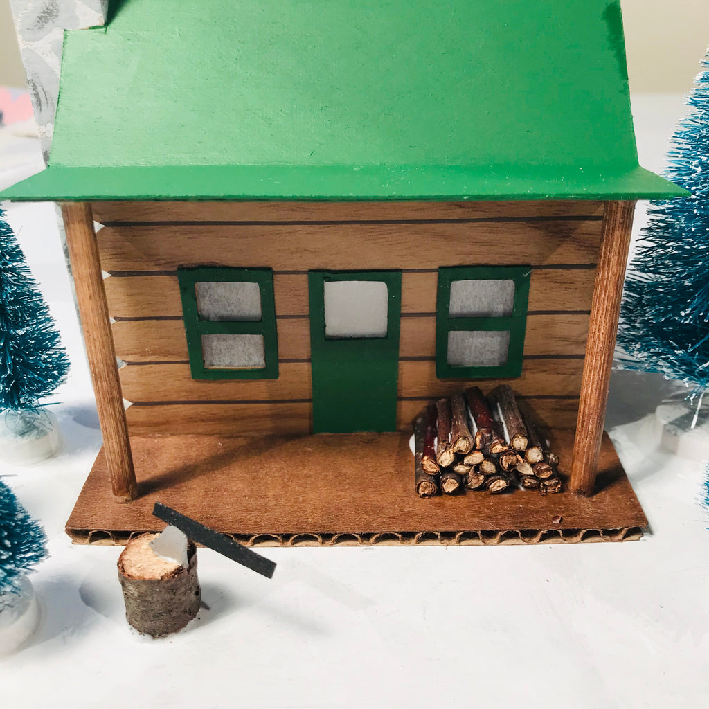 DIY Craft Christmas Putz Glitter House - Log Cabin - Firewood Pile and Axe in Log