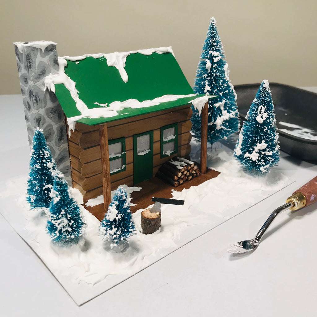 DIY Craft Christmas Putz Glitter House - Log Cabin - Add the Fake Snow