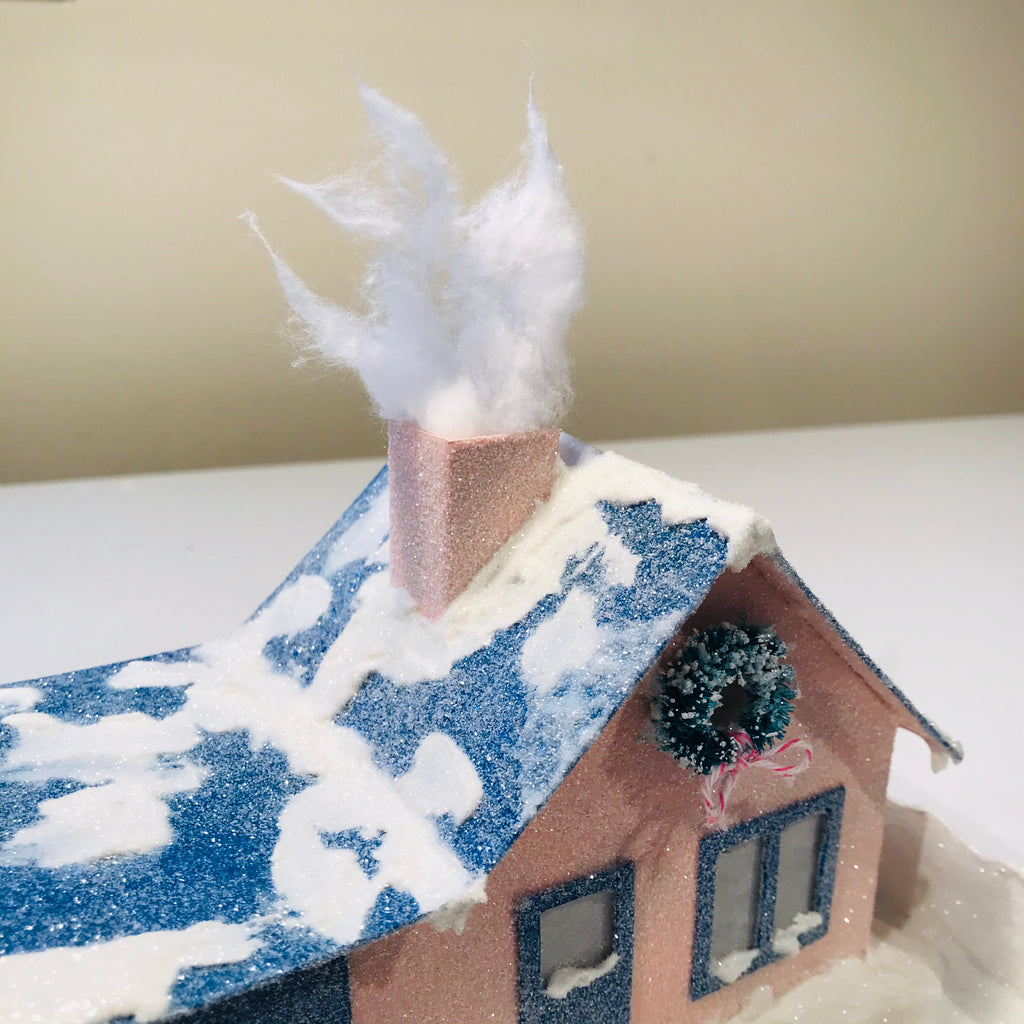 15 DIY Craft Christmas Putz Glitter House Cottage with Attached Garage Cotton Ball Smoke Chimney