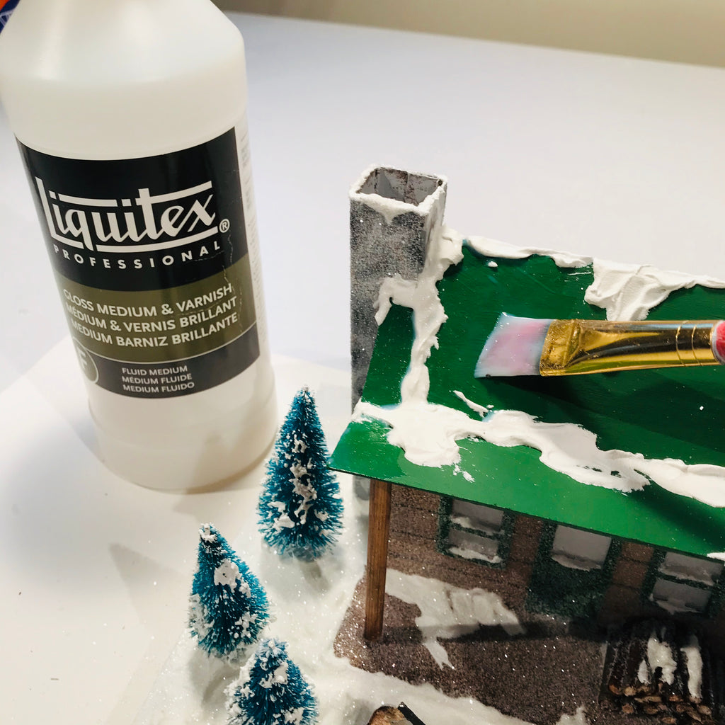 DIY Craft Christmas Putz Glitter House - Log Cabin - Apply Liquitex Gloss Medium with Brush