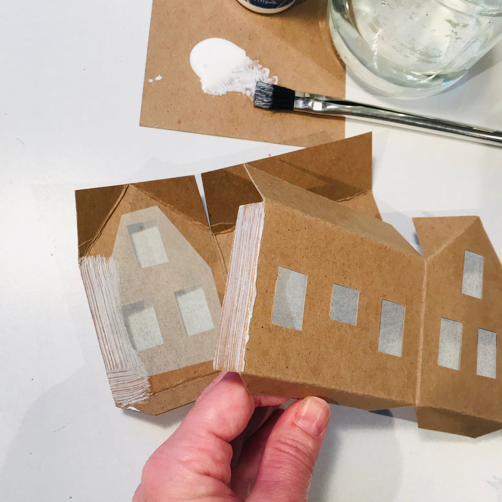 DIY Craft Tutorial - Christmas Village Putz Glitter House - Simple Cottage - Glue walls of house together