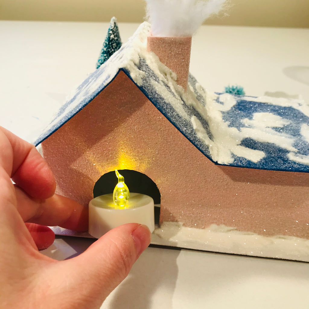 16 DIY Craft Christmas Putz Glitter House Cottage with Attached Garage Flicker Light LED Candle