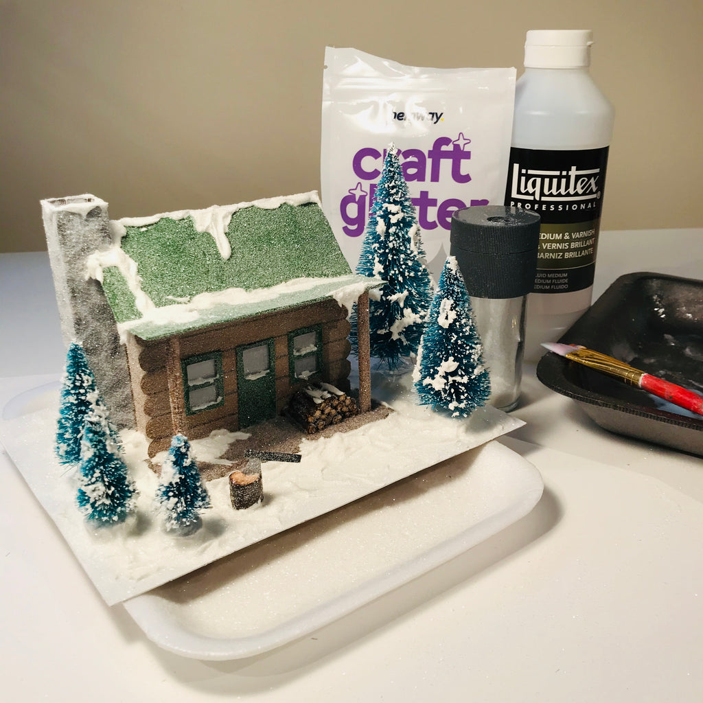 DIY Craft Christmas Putz Glitter House - Log Cabin - Finished house with Glitter