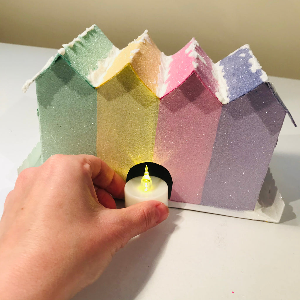16 DIY Craft Christmas Putz Glitter House - Row Houses - Add Flicker Light LED Candle