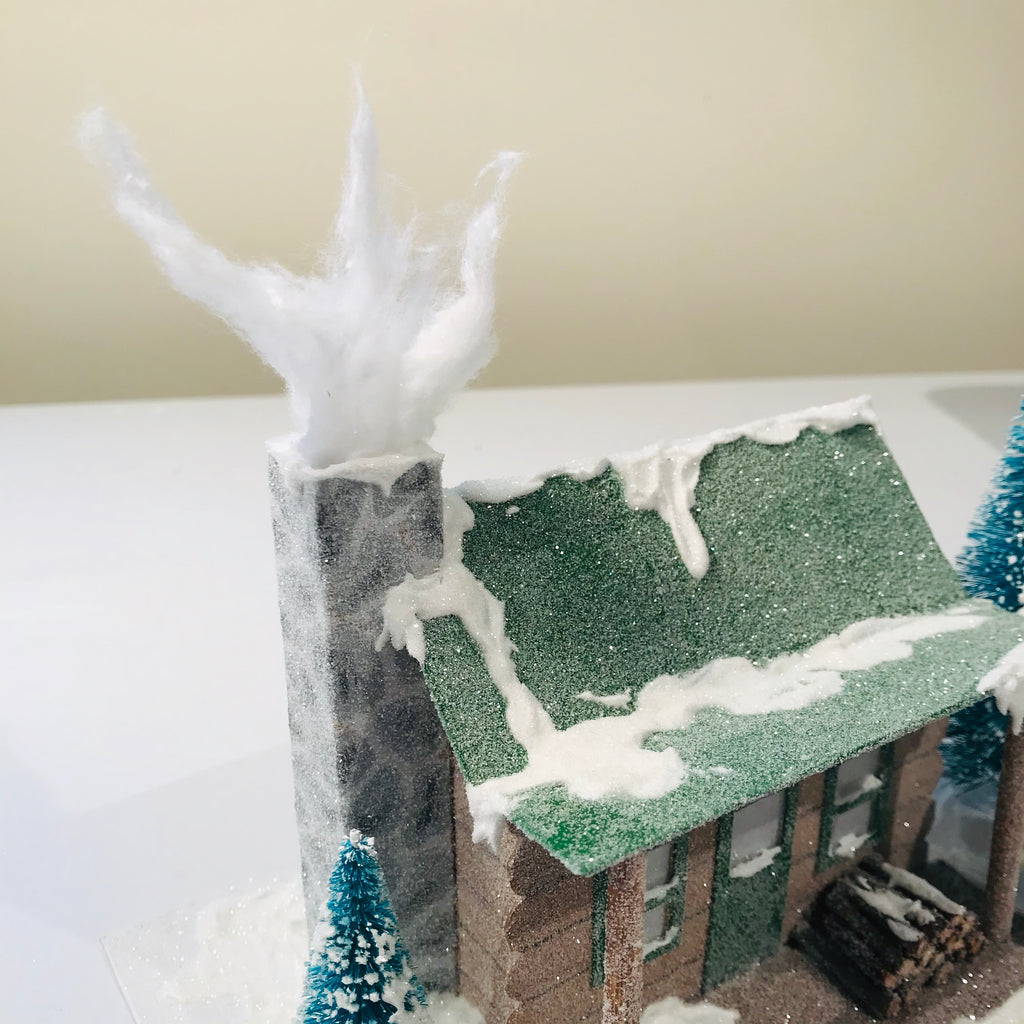 DIY Craft Christmas Putz Glitter House - Log Cabin - Use Cotton Ball to make Smoke in the Chimney