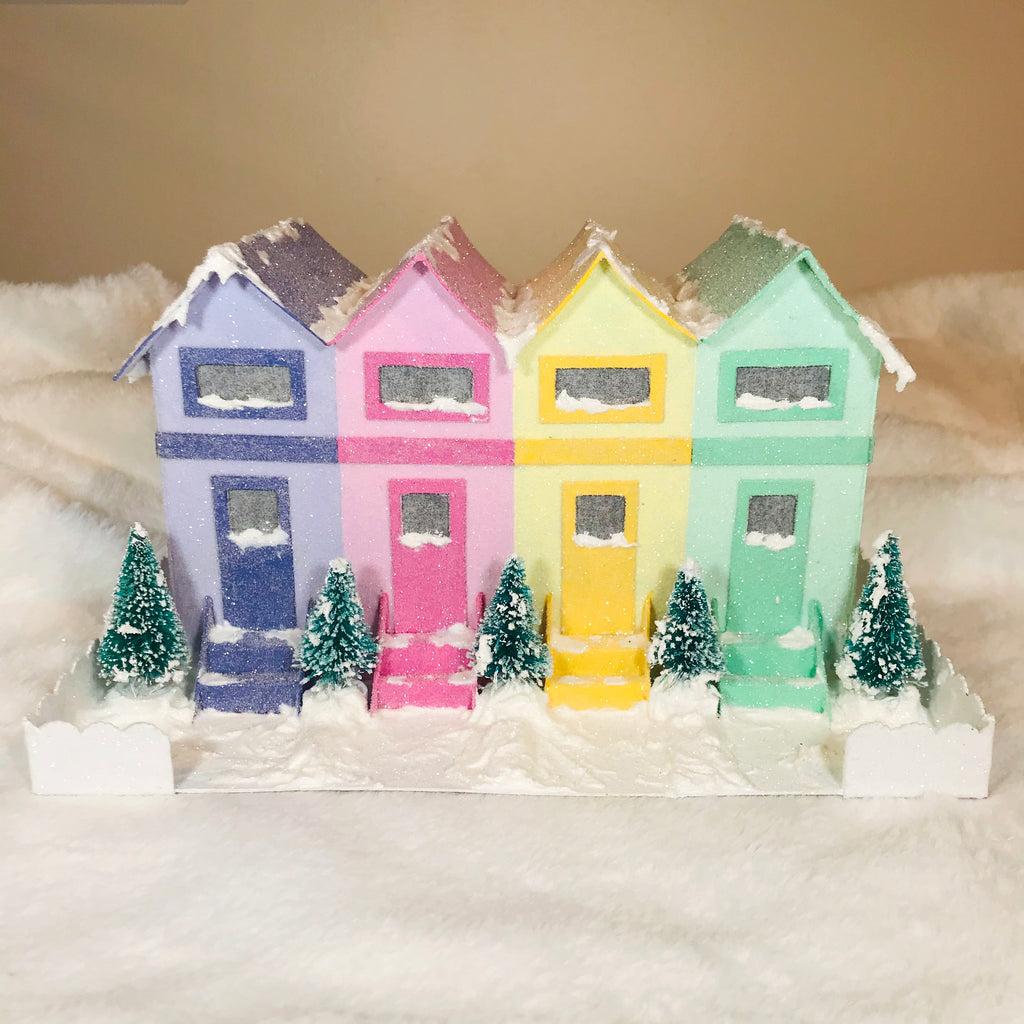 17 DIY Craft Christmas Putz Glitter House - Row Houses - Front View