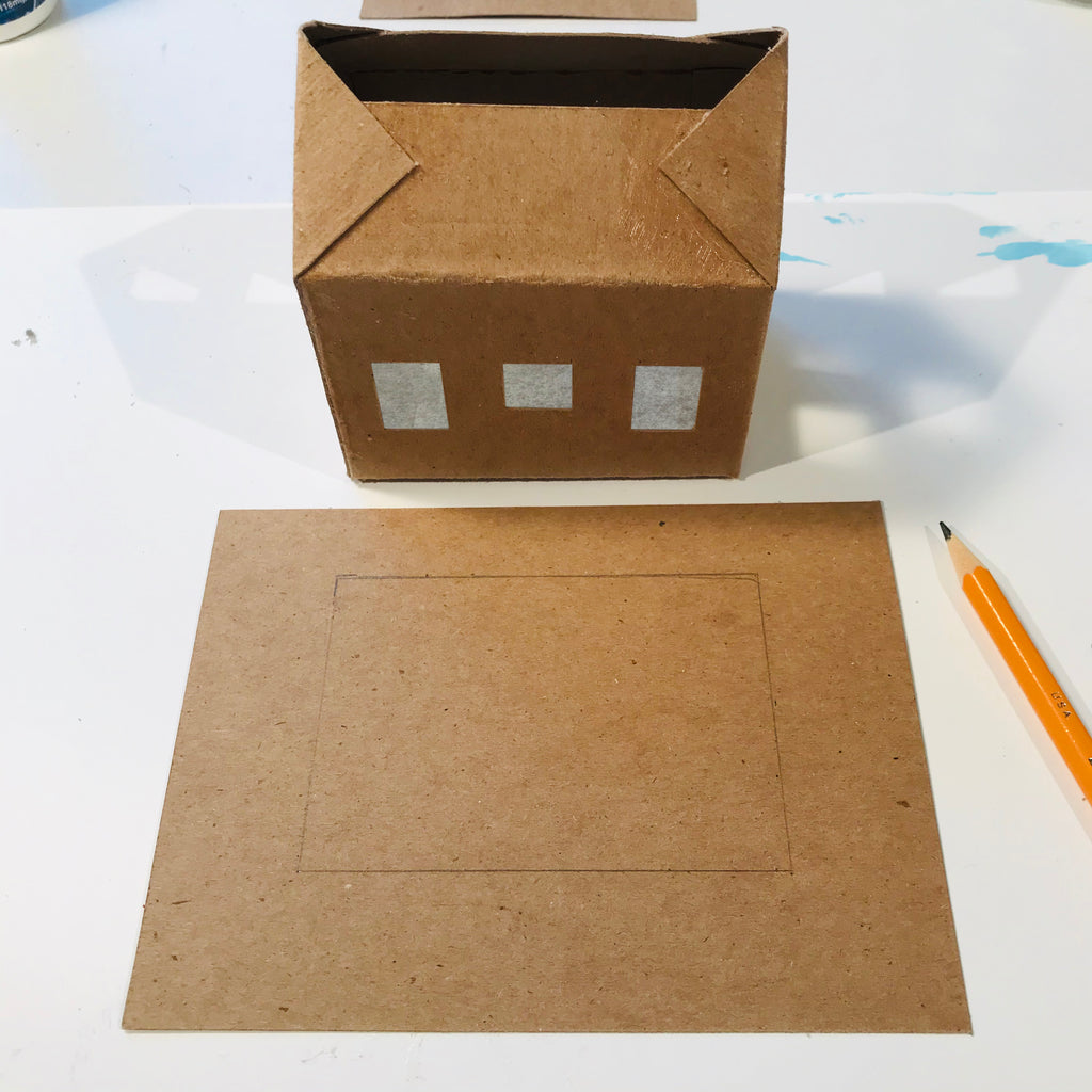 DIY Craft Tutorial - Christmas Village Putz Glitter House - Simple Cottage - Trace contour of house on base