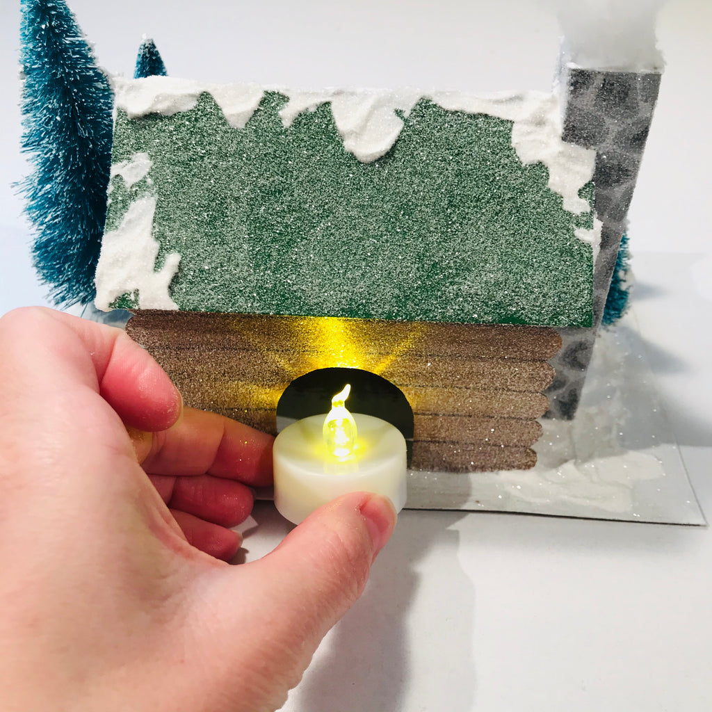 DIY Craft Christmas Putz Glitter House - Log Cabin - Add Flicker Light LED Candle