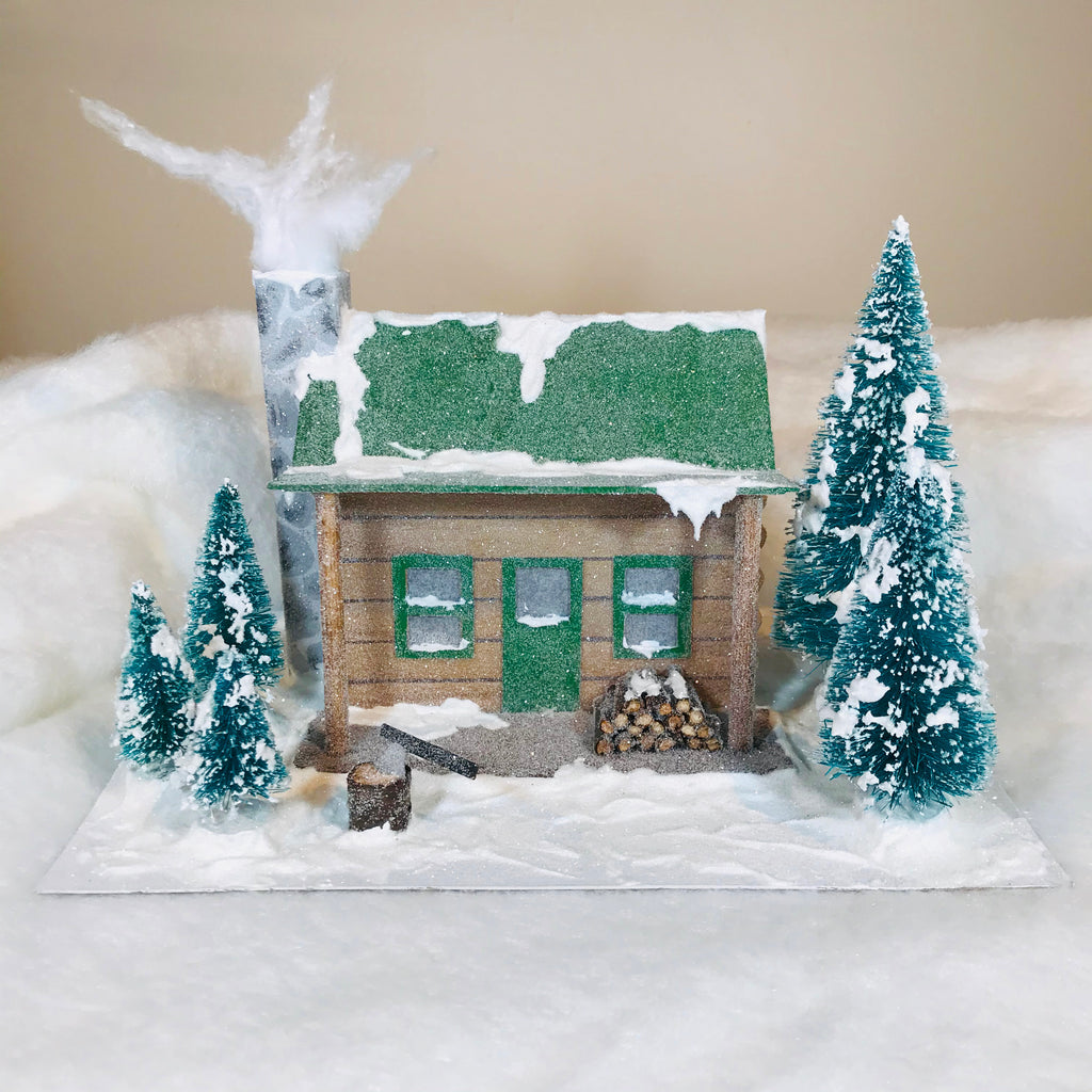 DIY Craft Christmas Putz Glitter House - Log Cabin - Front View