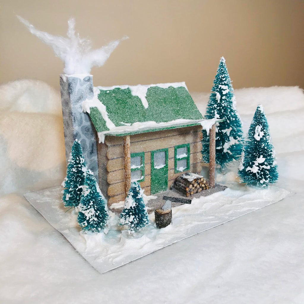 DIY Craft Christmas Putz Glitter House - Log Cabin - Side View