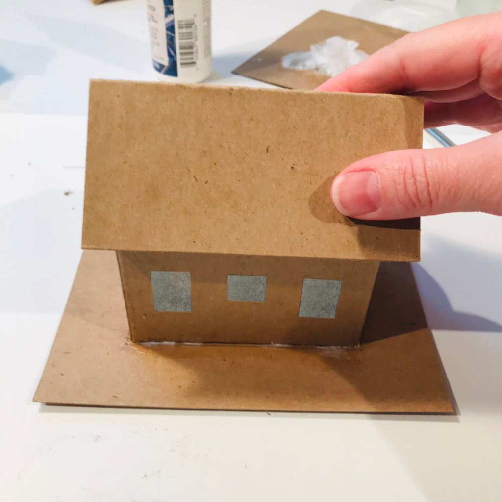 DIY Craft Tutorial - Christmas Village Putz Glitter House - Simple Cottage - Glue the roof and hold