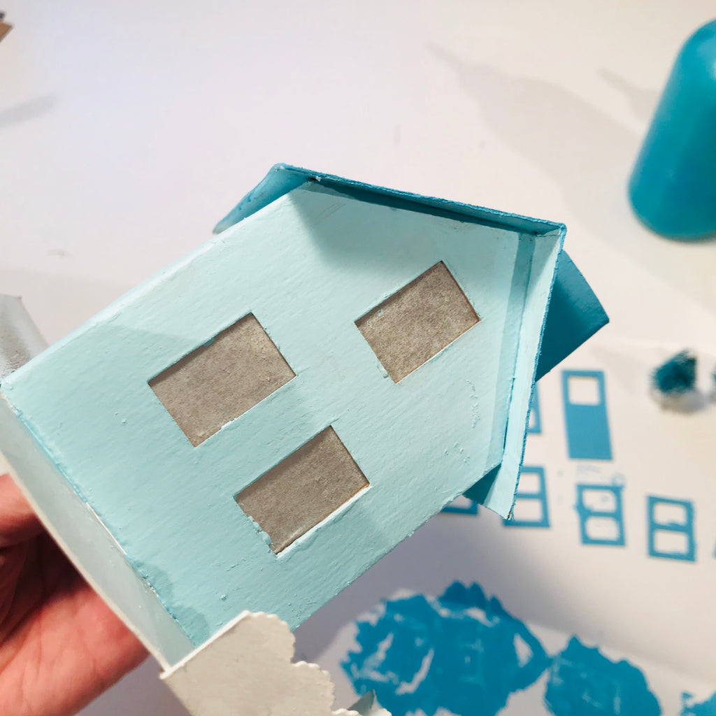 DIY Craft Tutorial - Christmas Village Putz Glitter House - Simple Cottage - Paint the house - Underside of roof