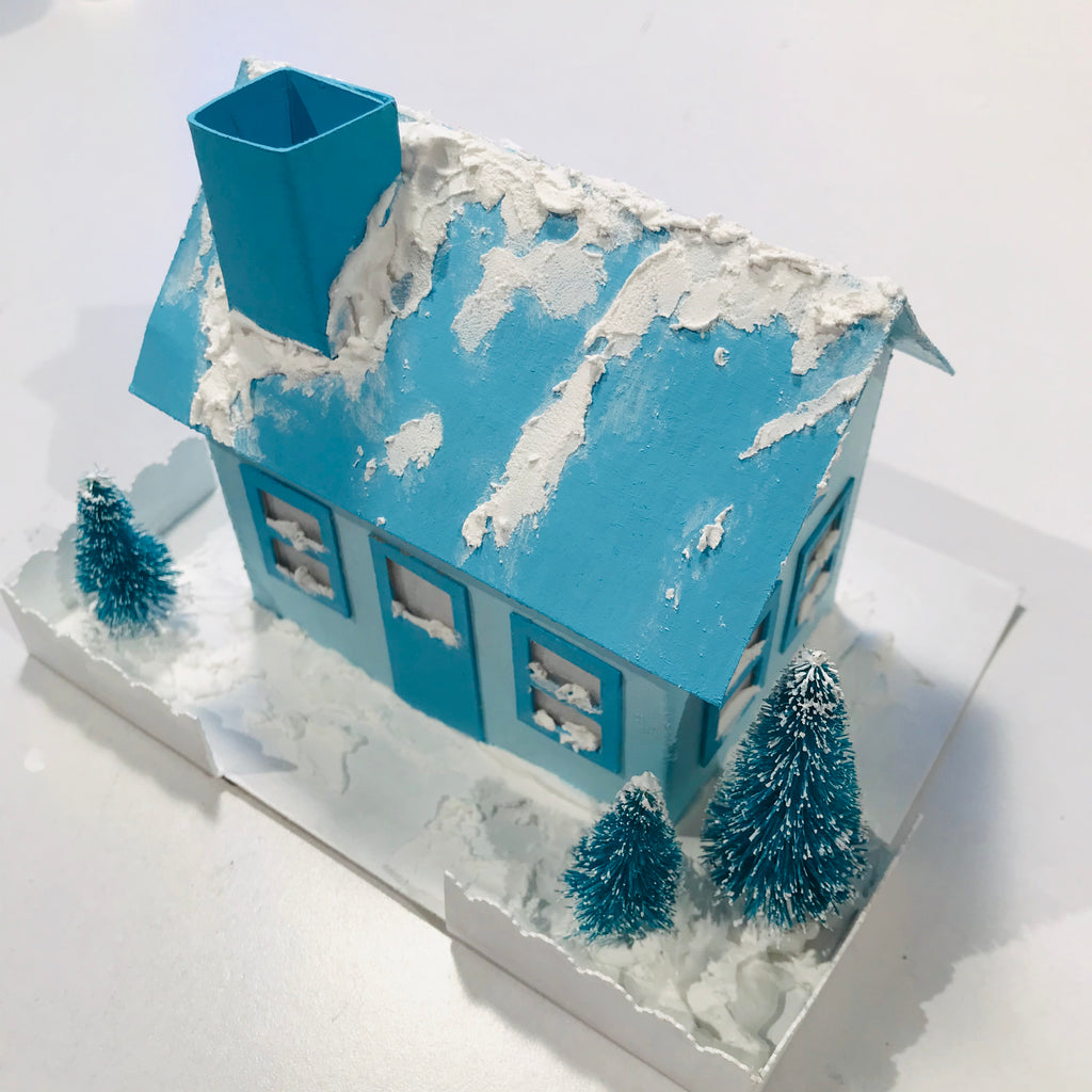 DIY Craft Tutorial - Christmas Village Putz Glitter House - Simple Cottage - Add fake snow to roof and chimney