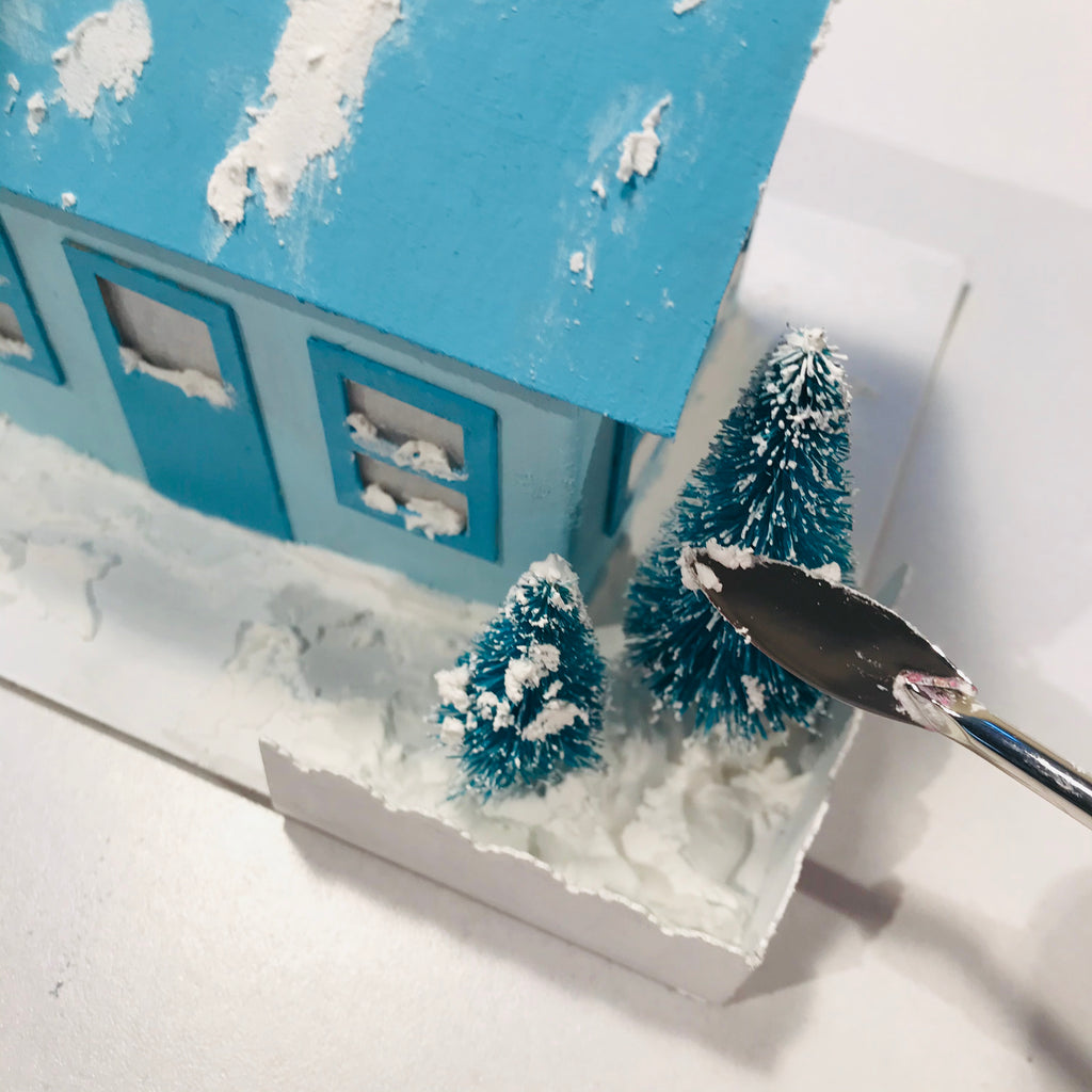 DIY Craft Tutorial - Christmas Village Putz Glitter House - Simple Cottage - Add snow to sisal trees to make them more snowy