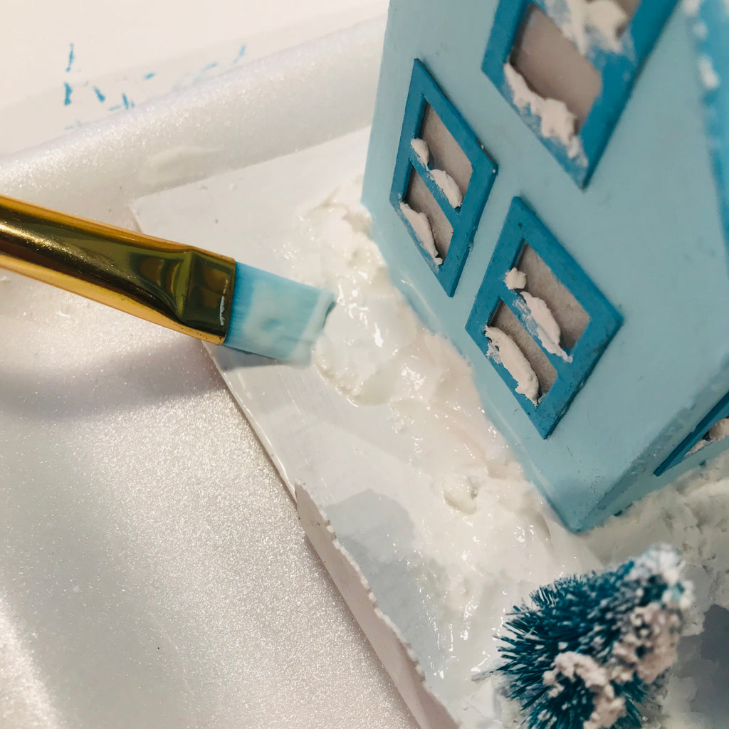 DIY Craft Tutorial - Christmas Village Putz Glitter House - Simple Cottage - Apply Mod Podge to ground with paint brush