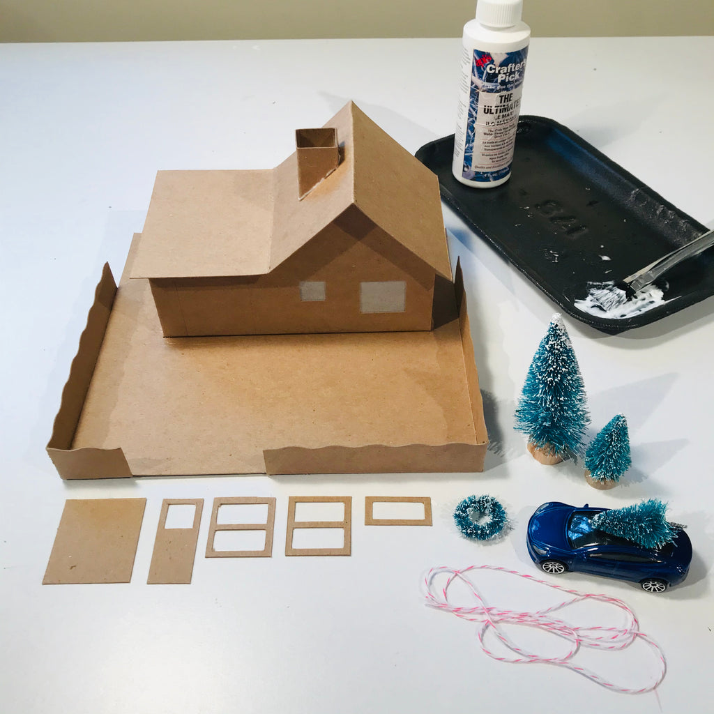4 DIY Craft Christmas Putz Glitter House Cottage with Attached Garage Assemble with Glue 2