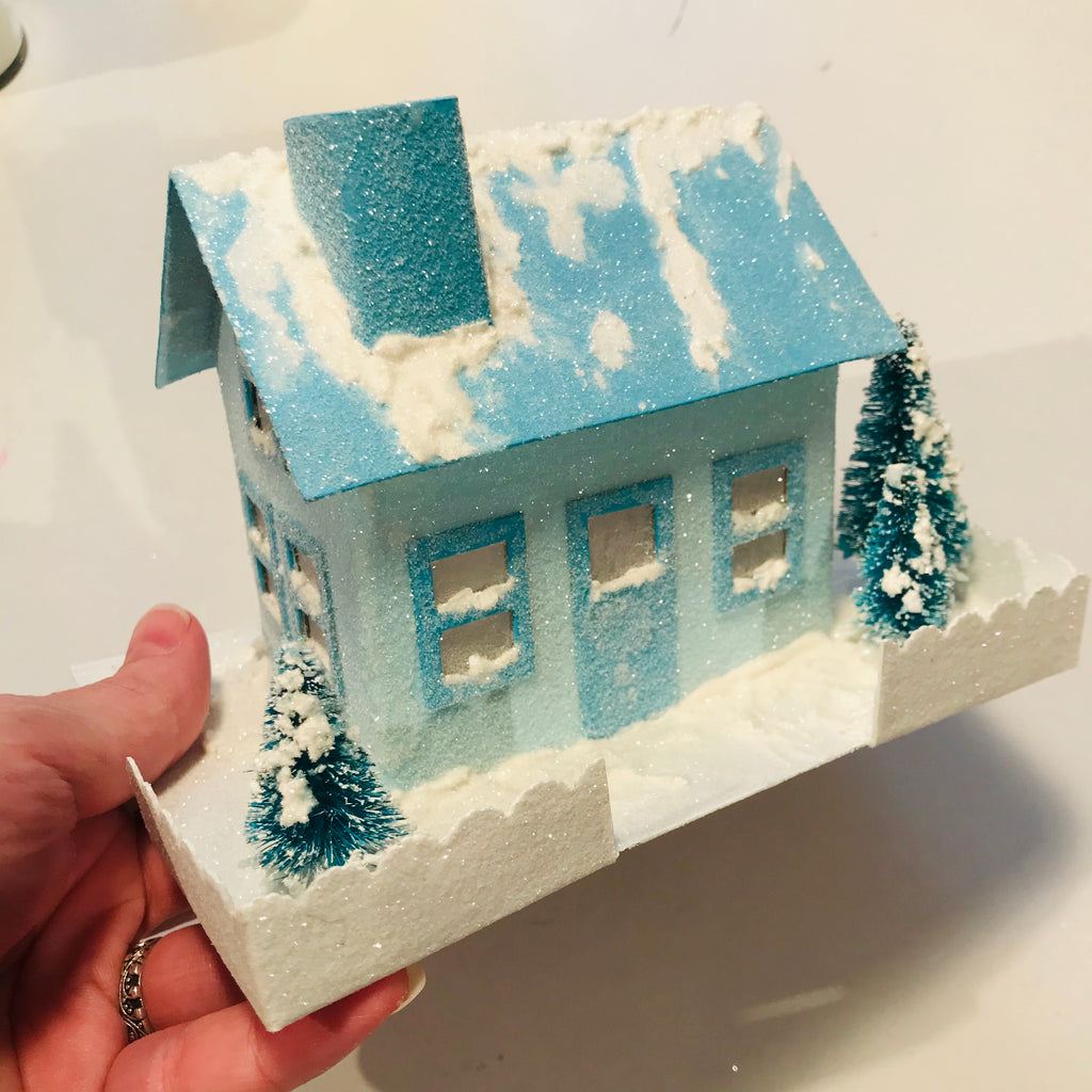 DIY Craft Tutorial - Christmas Village Putz Glitter House - Simple Cottage - House is now all glittery and sparkly