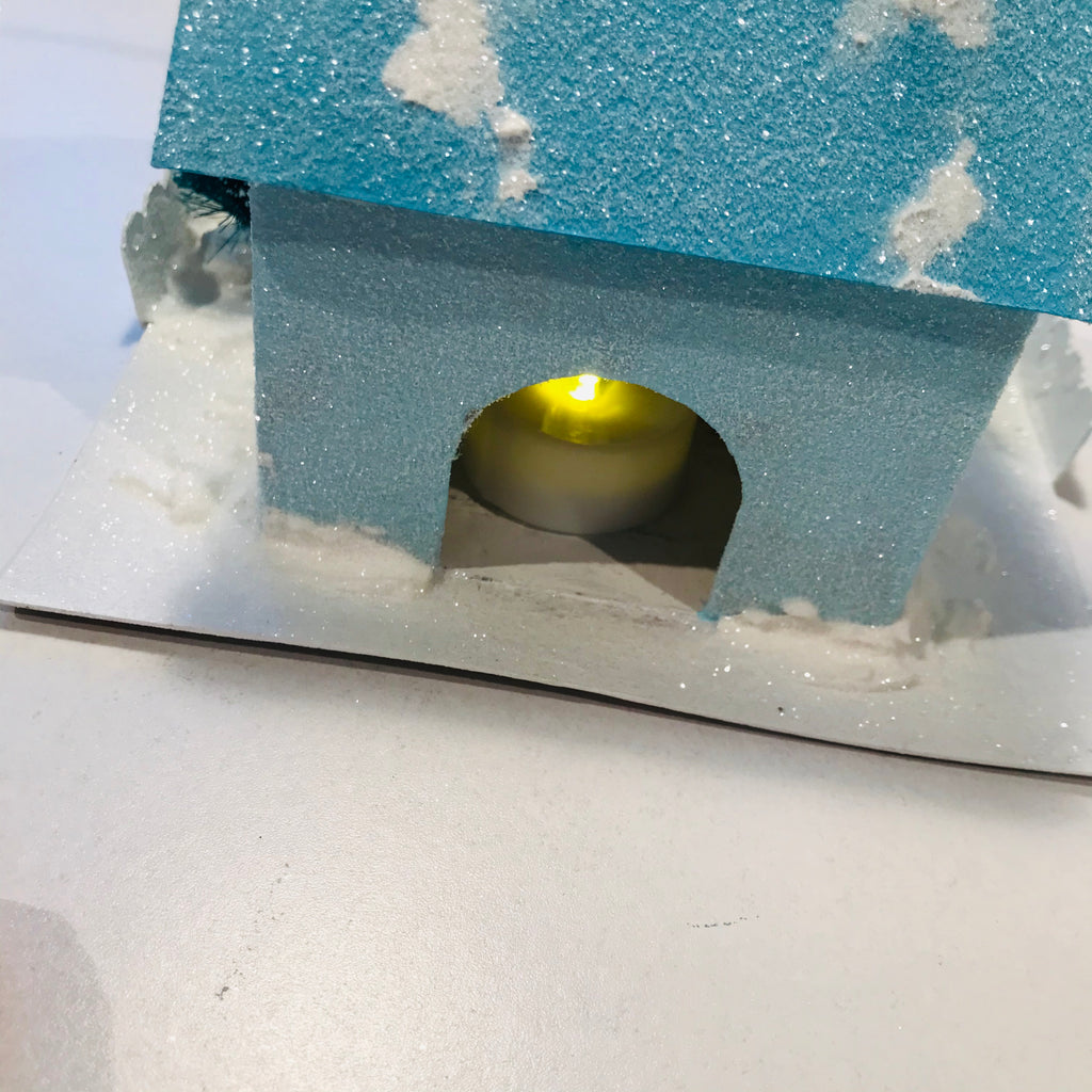 DIY Craft Tutorial - Christmas Village Putz Glitter House - Simple Cottage - Insert LED flicker candle into light hole