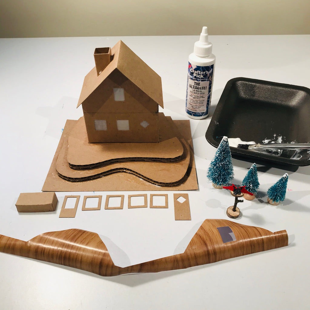 5 DIY Craft Christmas Putz Glitter House Swiss Style Alpine Chalet Assemble with White Glue