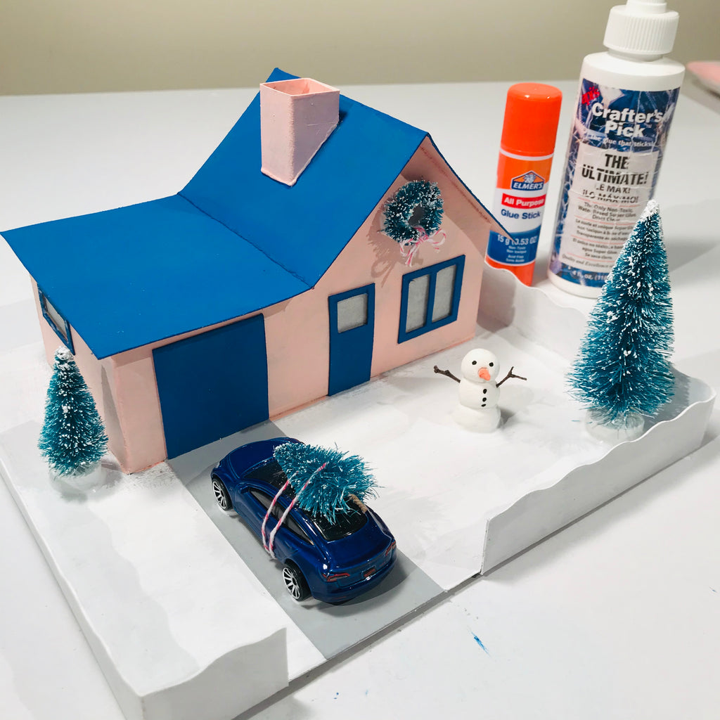6 DIY Craft Christmas Putz Glitter House Cottage with Attached Garage Accessories