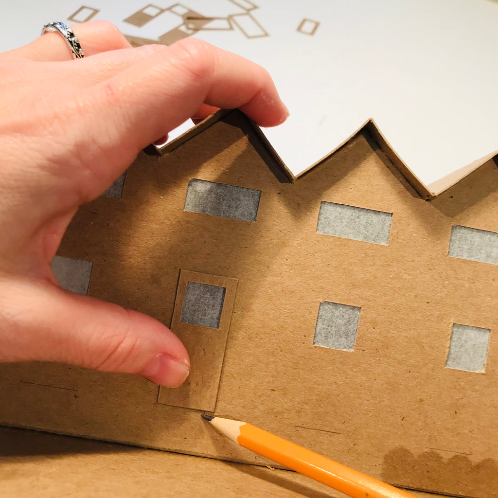 6 DIY Craft Christmas Putz Glitter House - Row Houses - Trace Markers for the Stairs