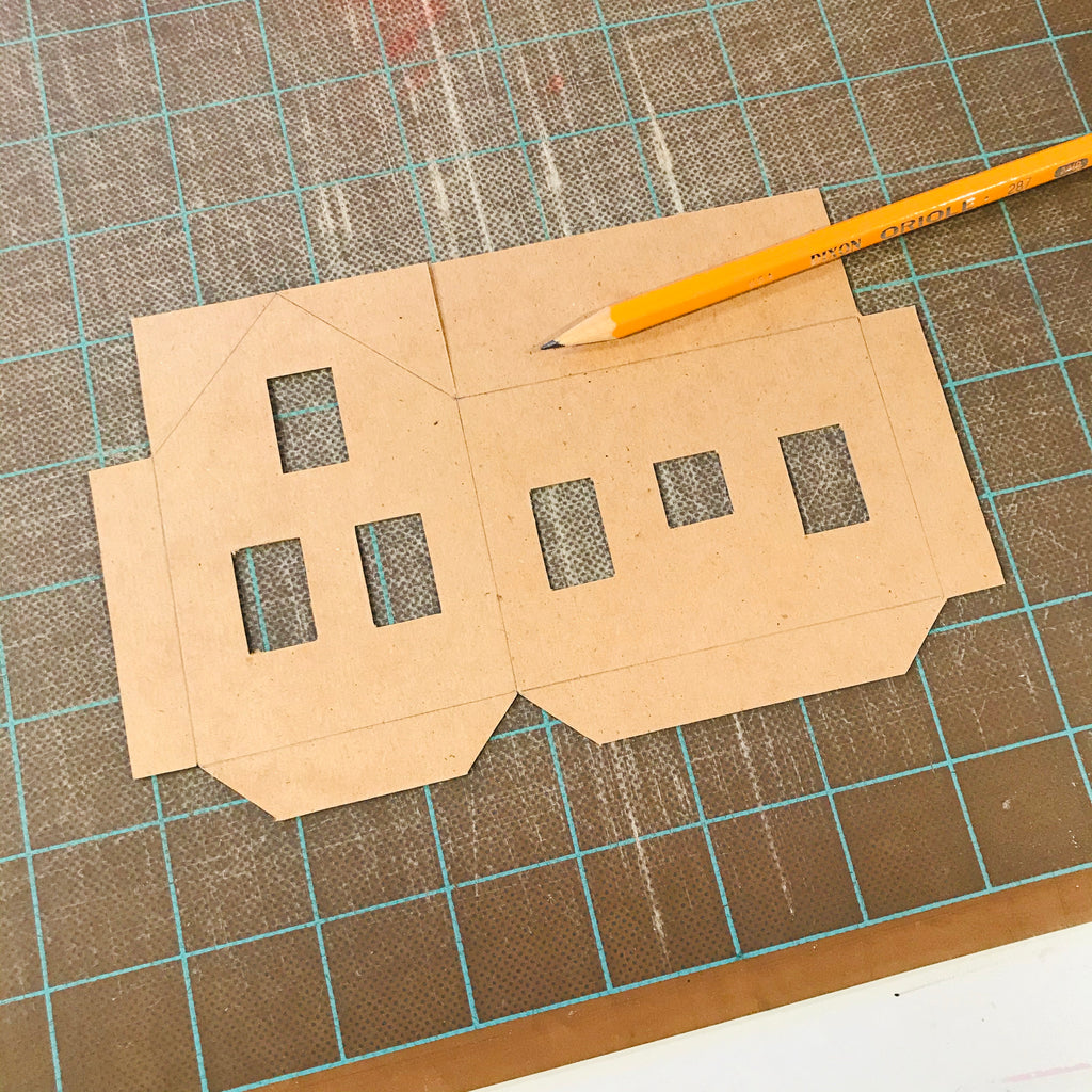 DIY Craft Tutorial - Christmas Village Putz Glitter House - Simple Cottage - Fold lines all traced with pencil on cardboard