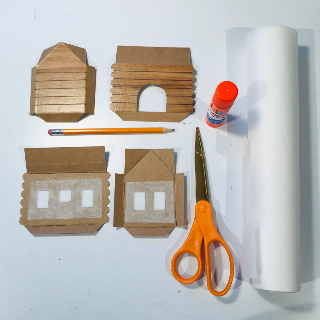 DIY Craft Christmas Putz Glitter House - Log Cabin - Frost the Windows with vellum