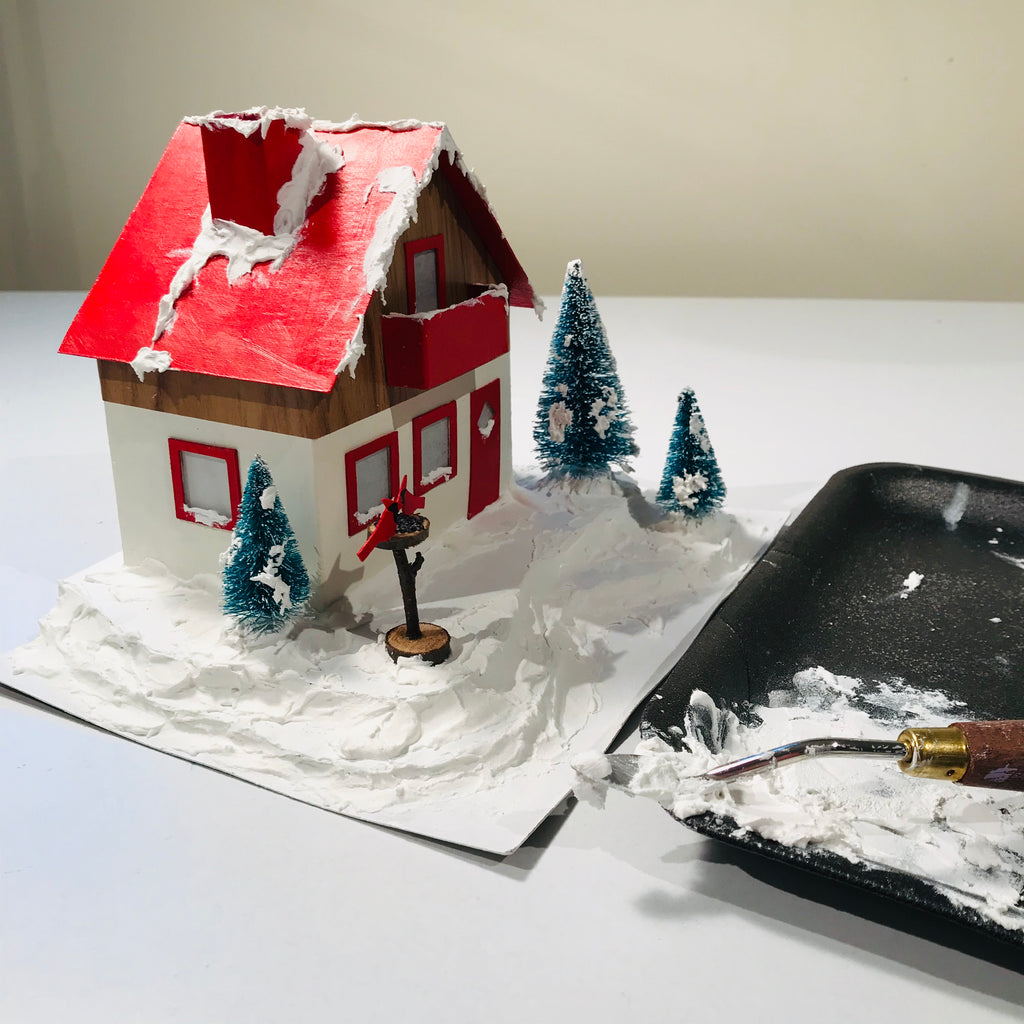 8 DIY Craft Christmas Putz Glitter House Swiss Style Alpine Chalet Fake Snow with Palette Knife