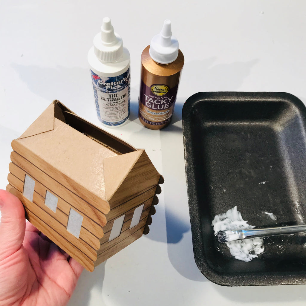 DIY Craft Christmas Putz Glitter House - Log Cabin - Assemble With White Craft Glue