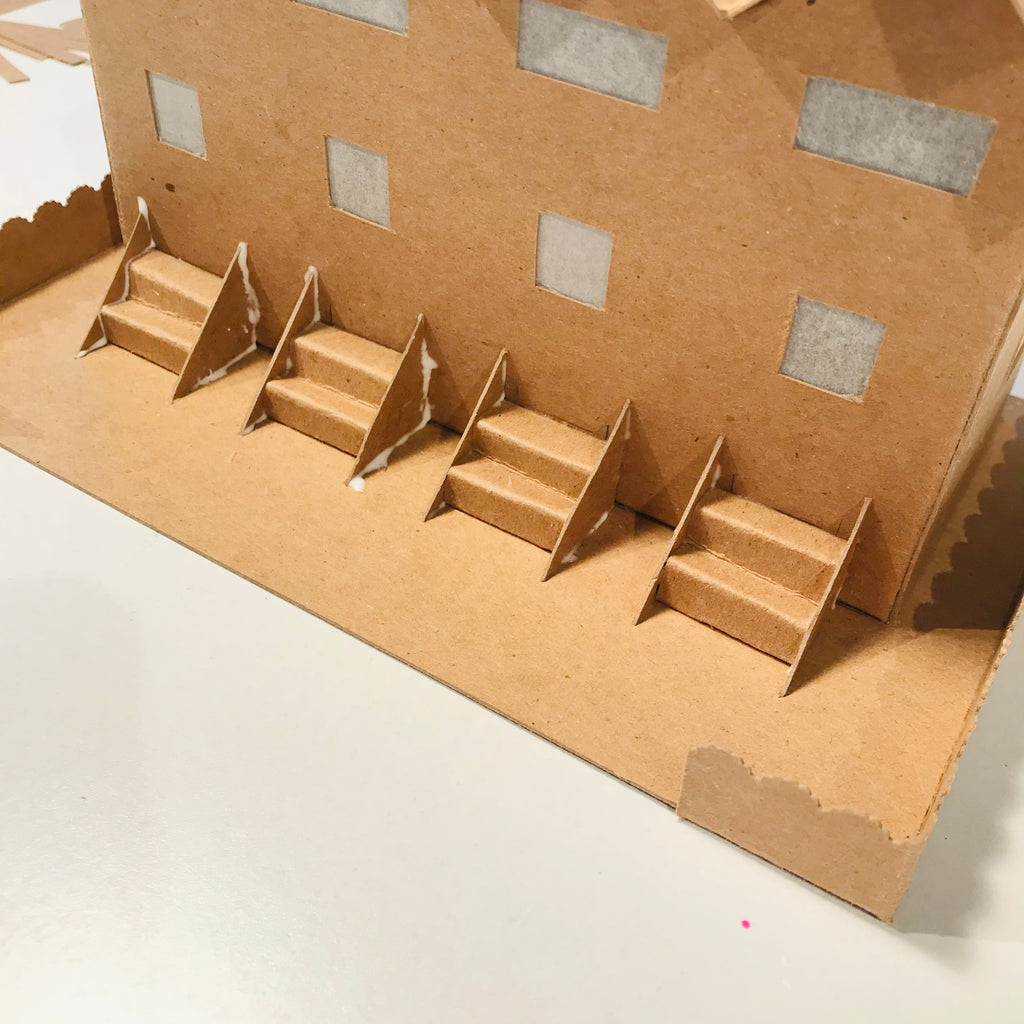 9 DIY Craft Christmas Putz Glitter House - Row Houses - Glue the Stairs Sides