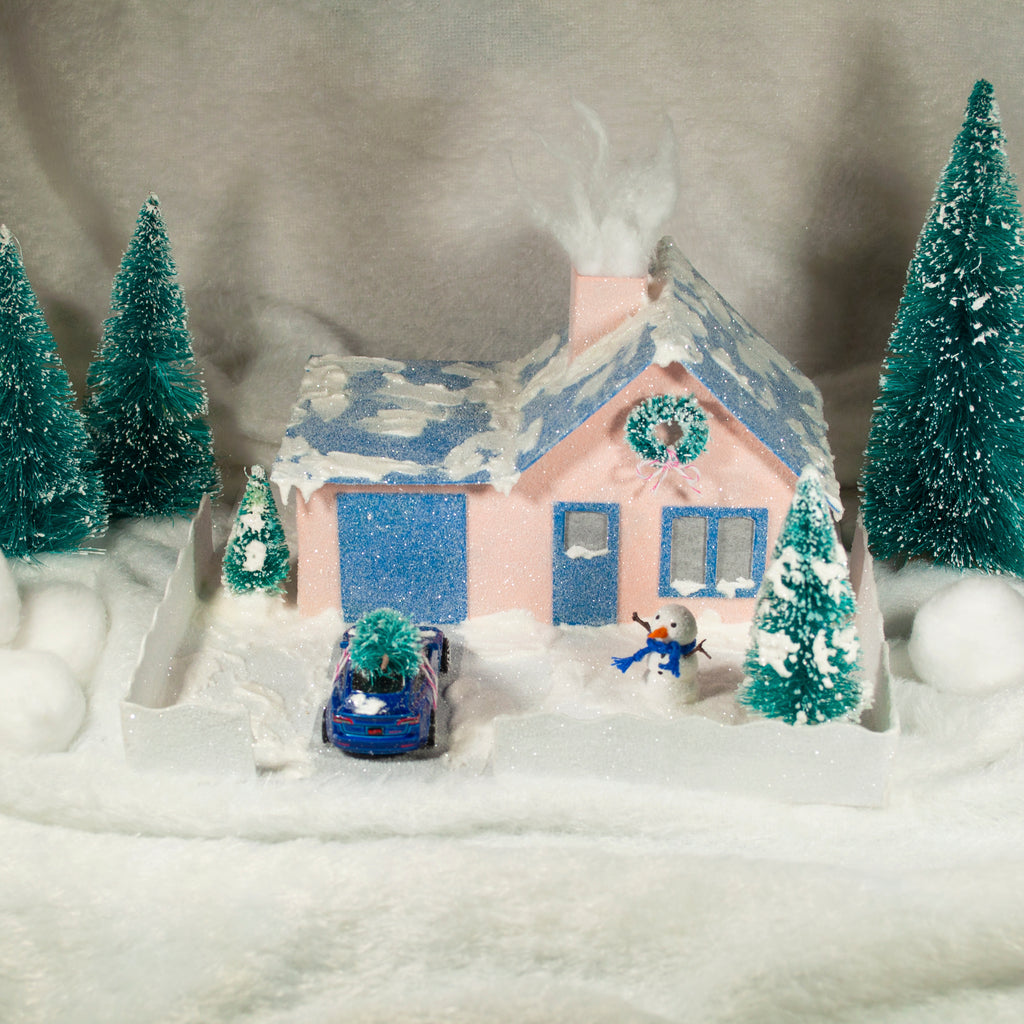 DIY Craft Tutorial 2 Cardboard Christmas Village Putz Glitter House Cottage with Attached Garage Front View