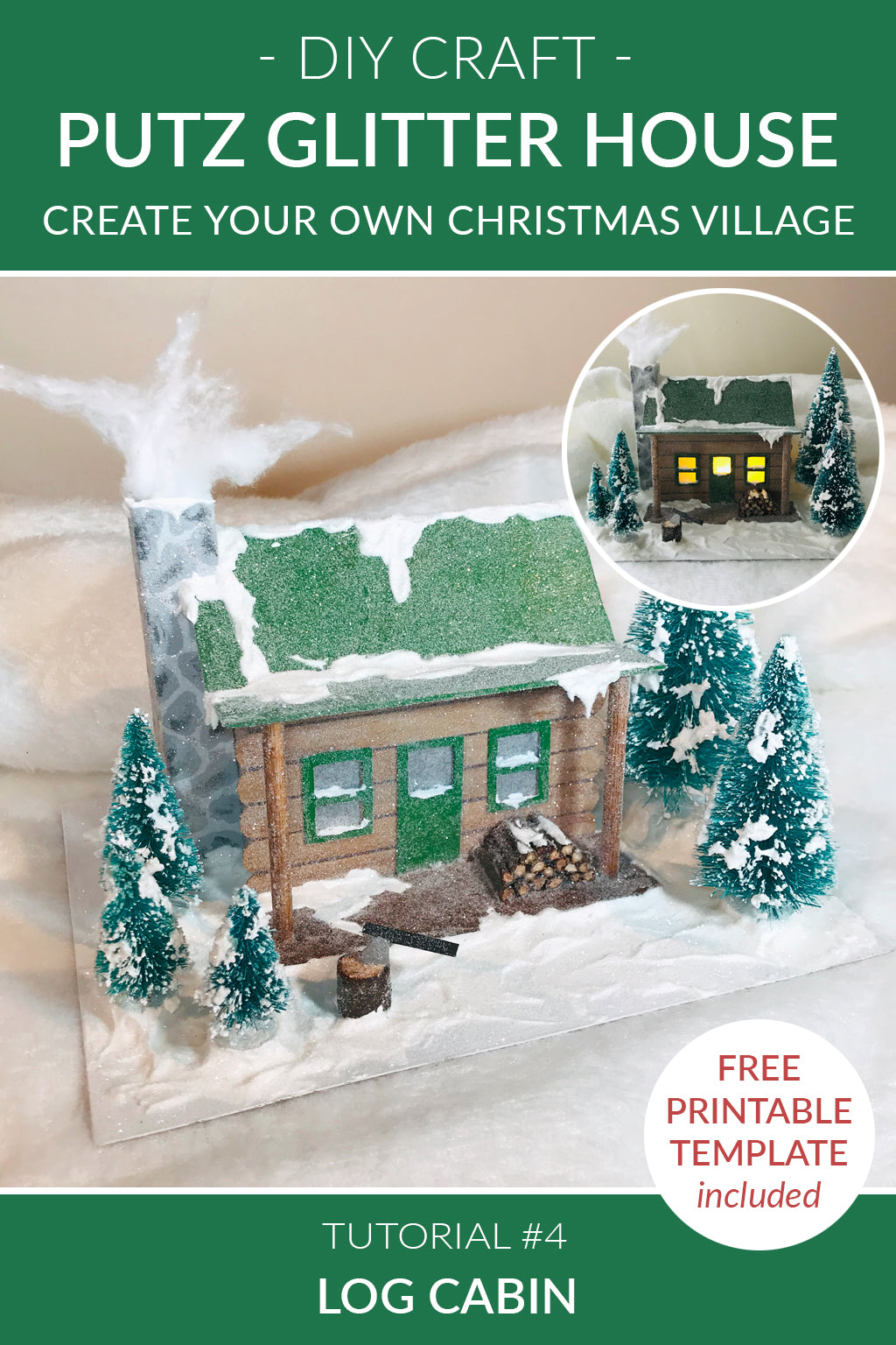 DIY Craft Tutorial 4 - Cardboard Christmas Village Putz Glitter House - Log Cabin - Montage