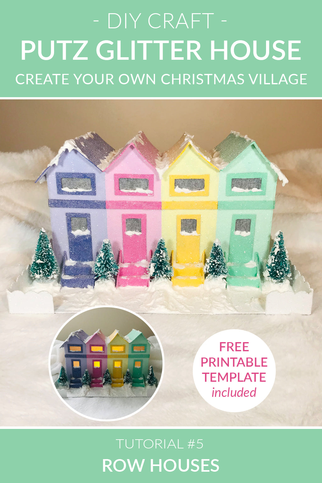 DIY Christmas Village - Putz Glitter House - Tutorial #5 - Row Houses
