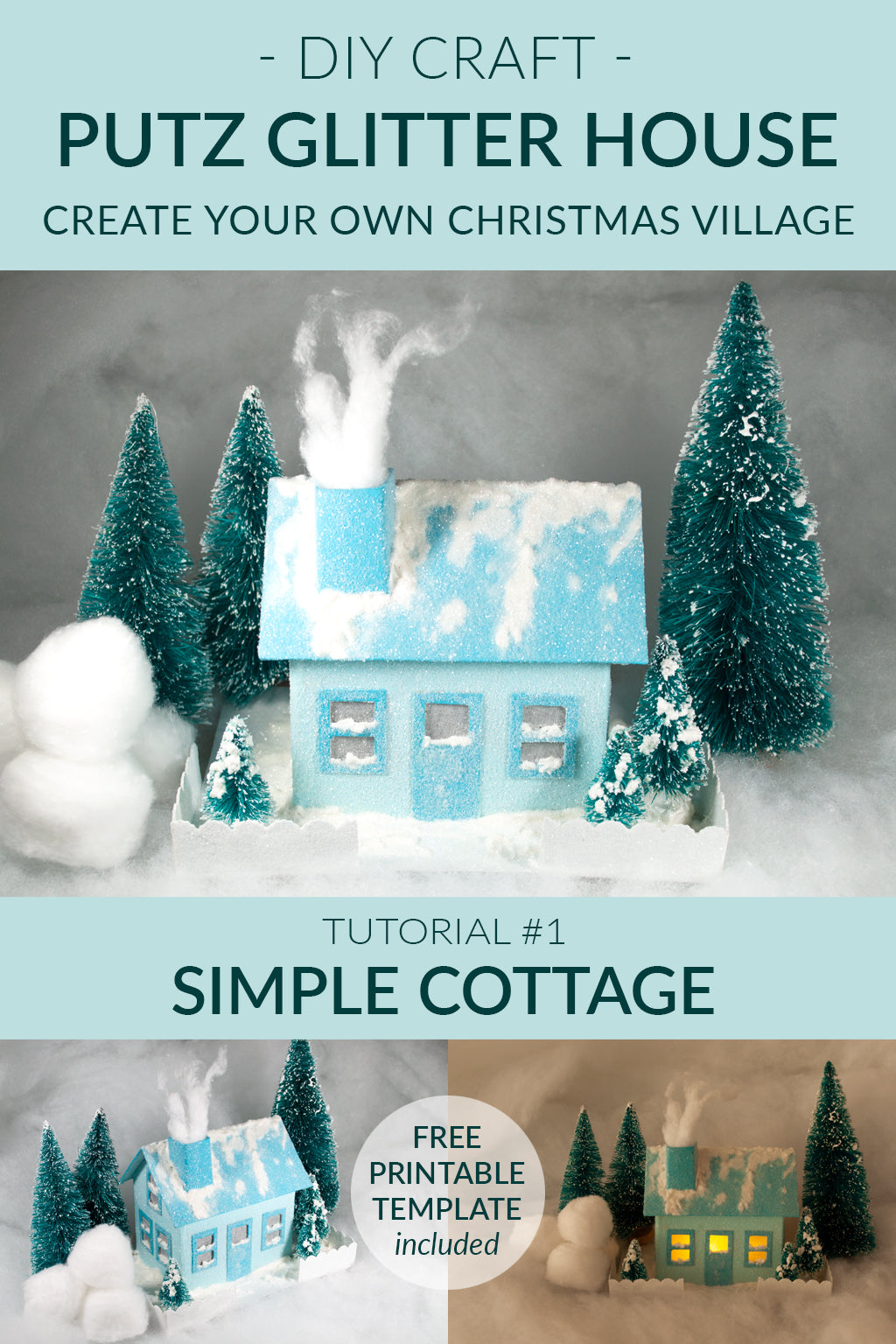 DIY Craft - Christmas Village Putz Glitter House - Tutorial # 1 - Simple Cottage - Free Printable Template Included