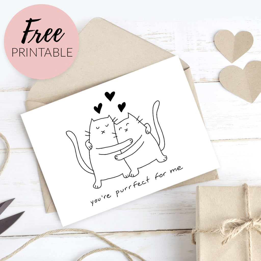 Free Printable Valentines Day Card - Funny Cats Purrfect For Me - Freebie by Happy Cat Prints