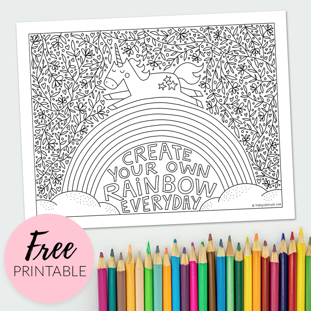 Rainbow Unicorn Inspirational Quote Free Printable Coloring Page for Kids and Adults