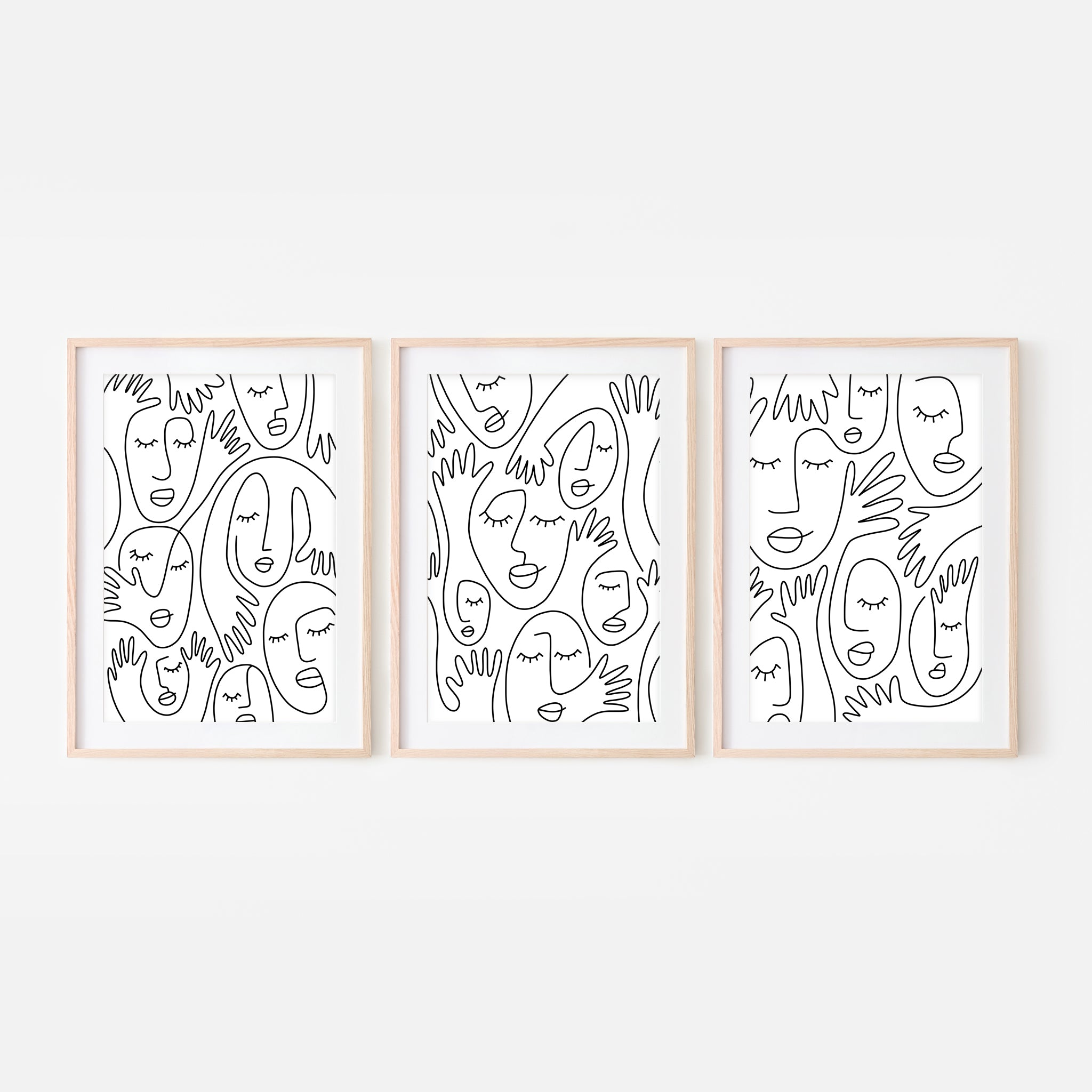 Set of 3 Abstract Faces & Hands Line Art Wall Decor - Black and White Continuous Line Drawing - Print, Poster or Printable Download