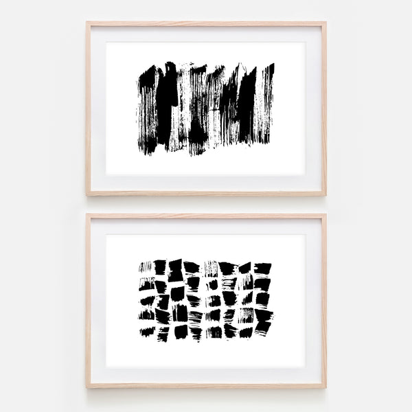 Set of 2 Abstract No. 1 Wall Art - Black and White Ink Brush Strokes Painting - Print, Poster or Printable Download - Horizontal