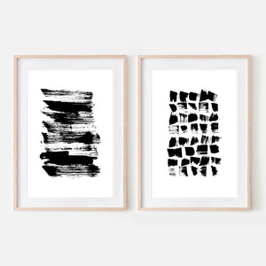 Set of 2 Abstract No. 1 Wall Art - Black and White Ink Brush Strokes Painting - Print, Poster or Printable Download - Vertical